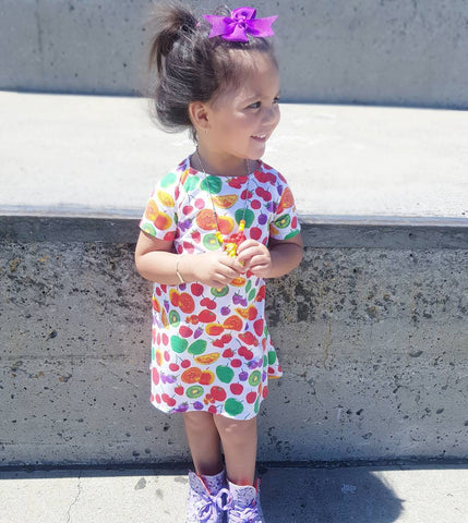 Fruity Tutti High Low Dress with matching top knot