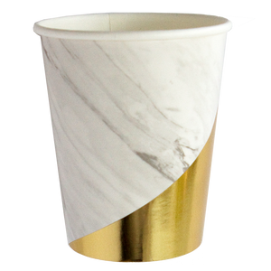 WHITE MARBLE PARTY CUPS