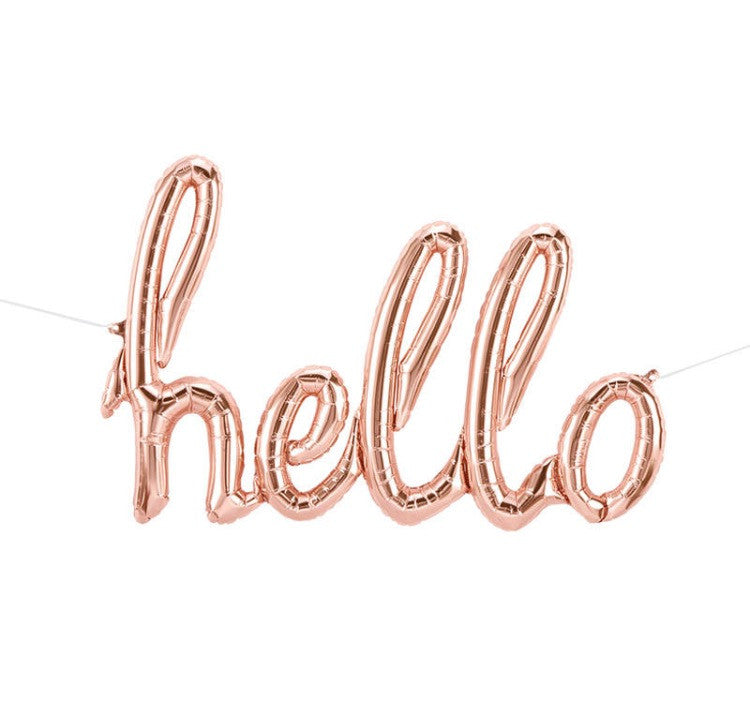 HELLO SCRIPT ROSE GOLD BALLOON