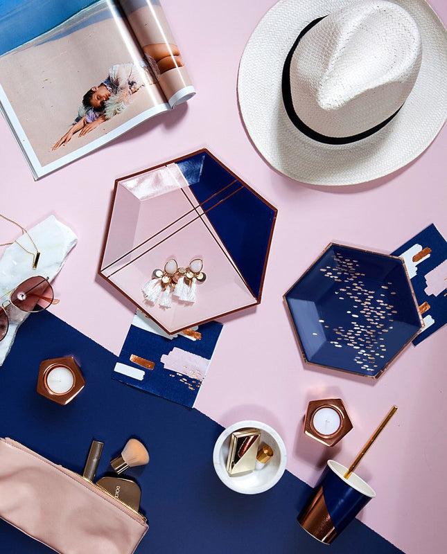 NAVY BLUE HEXAGON SMALL PLATES