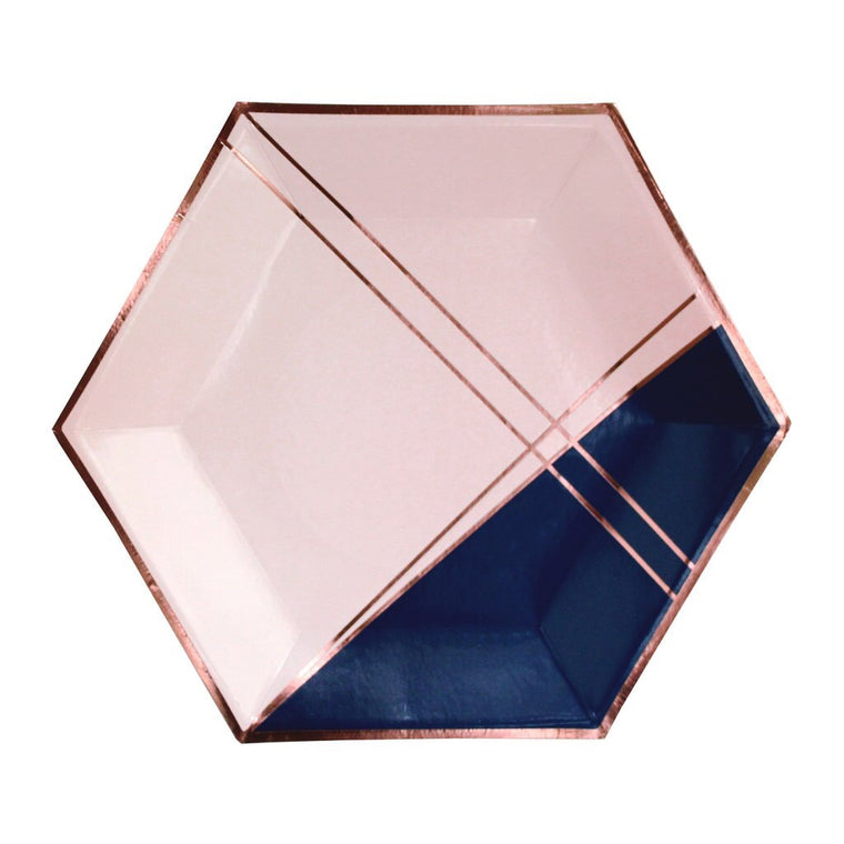 PINK & NAVY BLUE HEXAGON LARGE PLATES