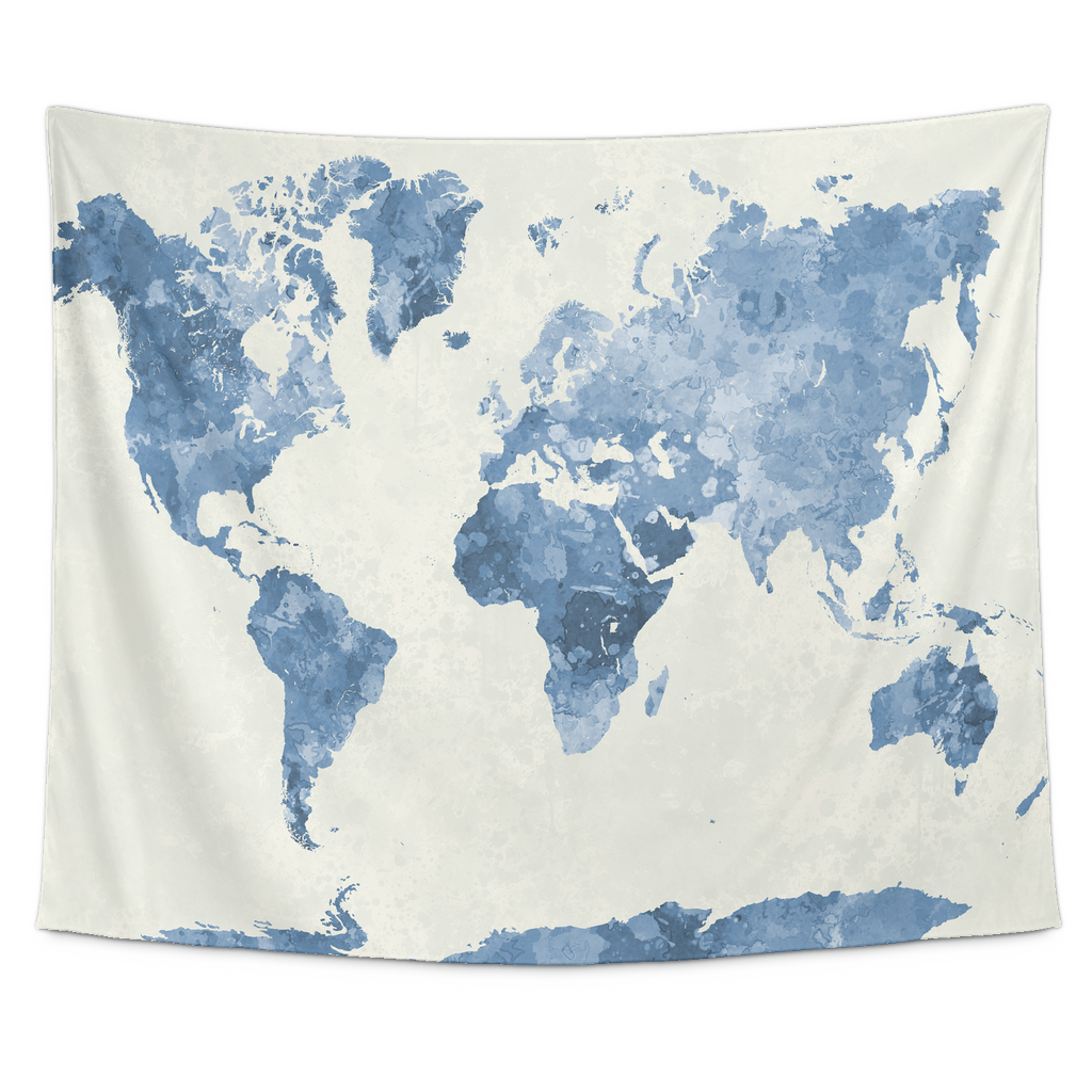 World map in watercolor painting abstract splatters blue tapestry world map in watercolor painting abstract splatters blue tapestry wal teeaholic world gumiabroncs Choice Image