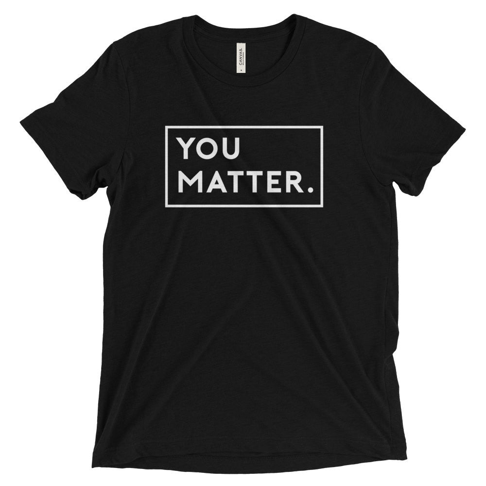 Matter Apparel Men's Unisex You Matter Graphic Print Black Triblend Crew Neck T-shirt