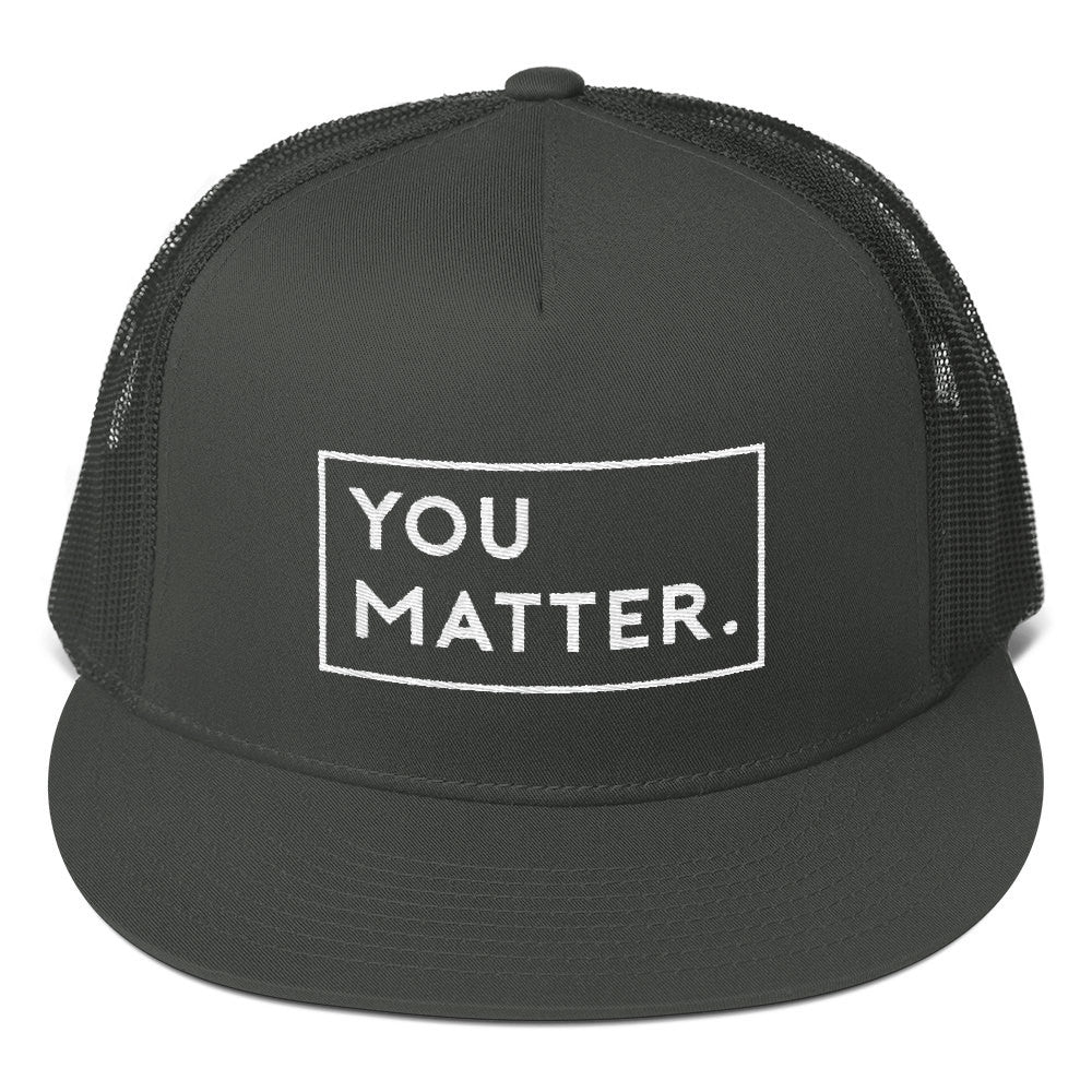 Matter Apparel You Matter design embroidered grey and white 5 panel snapback trucker hat