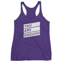 Matter Apparel Women's You Are Enough graphic print purple racerback tank