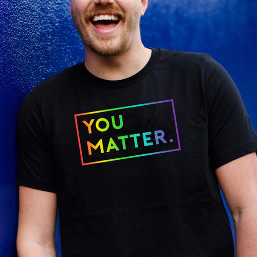 Special Edition LGBTQ Men's Pride Rainbow Multi-Color Soft Eco-Blend Crew Neck T-shirt by Matter Apparel | Made In Portland, Oregon | Positive Clothing for People Who Care | Wear Your Care