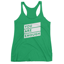 Matter Apparel Women's You Are Enough graphic print black racerback tank