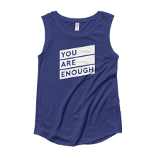 Matter Apparel Women's You Are Enough graphic print navy blue cap sleeve t-shirt