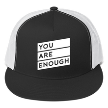 Matter Apparel You Are Enough design printed black and white 5 panel snapback trucker hat
