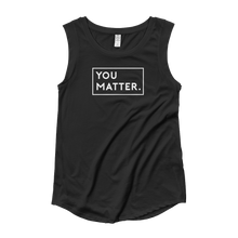 Matter Apparel Women's You Are Enough graphic print black cap sleeve t-shirt
