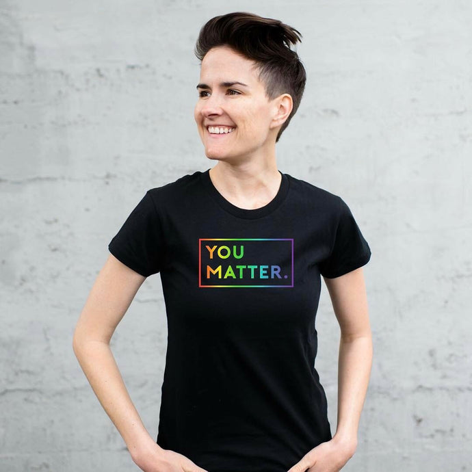 3660a769d Matter Apparel You Matter multi-color rainbow graphic print Special Edition  LGBTQ Women's Pride Crew