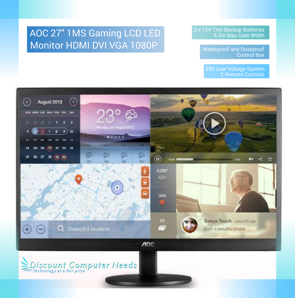 "AOC 27"" 1MS Gaming LCD LED Monitor HDMI DVI VGA 1080P"