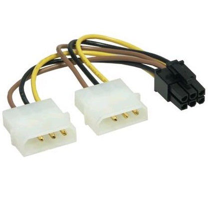 2x 4 Pin Molex to 1x PCI e Power Adaptor 6 PIN Power Cables and Connectors Discount Computer Needs