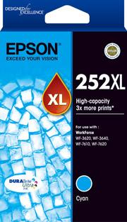 Epson 252XL Genuine Cyan High Yield Ink Cartridge Suits WF3620 3640 7610 7620 C13T253192 Epson Ink Discount Computer Needs