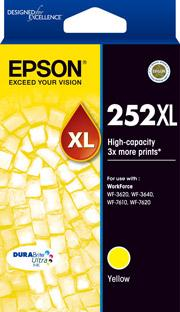 Epson 252XL Genuine Yellow High Yield Ink Cartridge Suits WF3620 3640 7610 7620 C13T253492 Epson Ink Discount Computer Needs