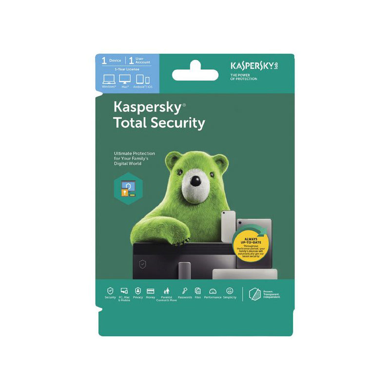 Kaspersky Total Security 1 Device 1 Year Antivirus and Security Discount Computer Needs