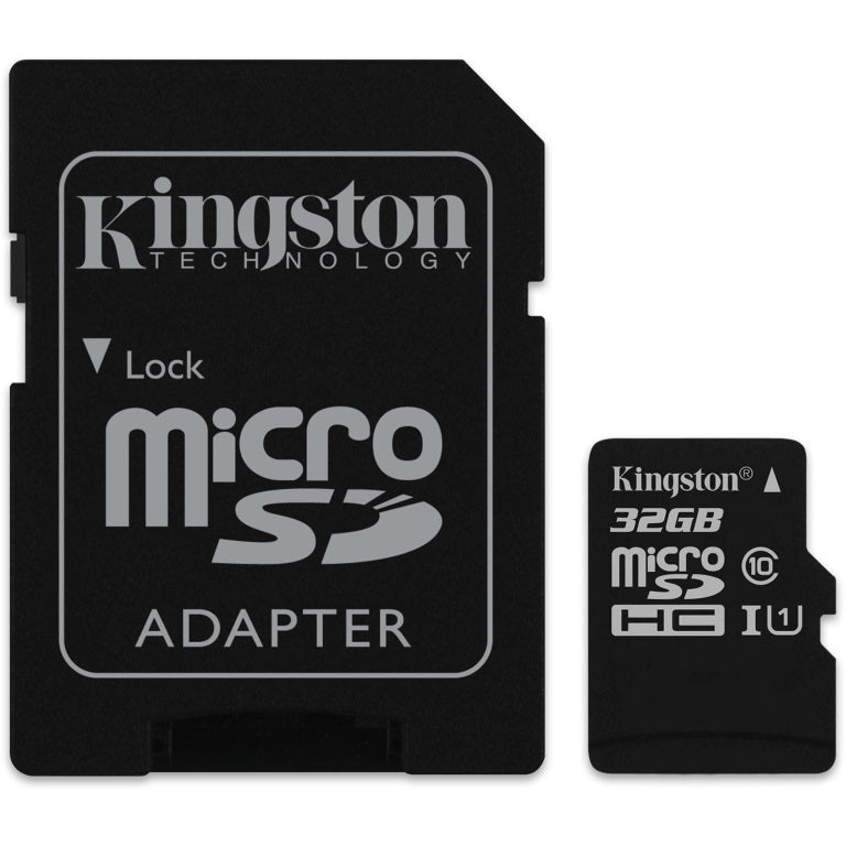 Kingston 32G Micro SD Card with SD Card Adapter Memory Card Readers and Adapters Discount Computer Needs