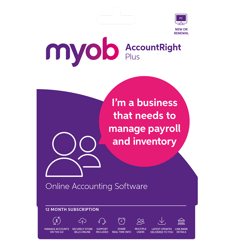 MYOB AccountRight Plus 1 Year New or Renewal Personal Finance, Tax, and Legal Discount Computer Needs