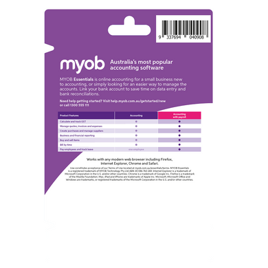 MYOB Essentials Unlimted Payroll 1 Year Personal Finance, Tax, and Legal Discount Computer Needs