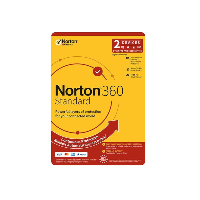 Norton 360 Standard 2 Devices 1 Year Antivirus and Security Discount Computer Needs