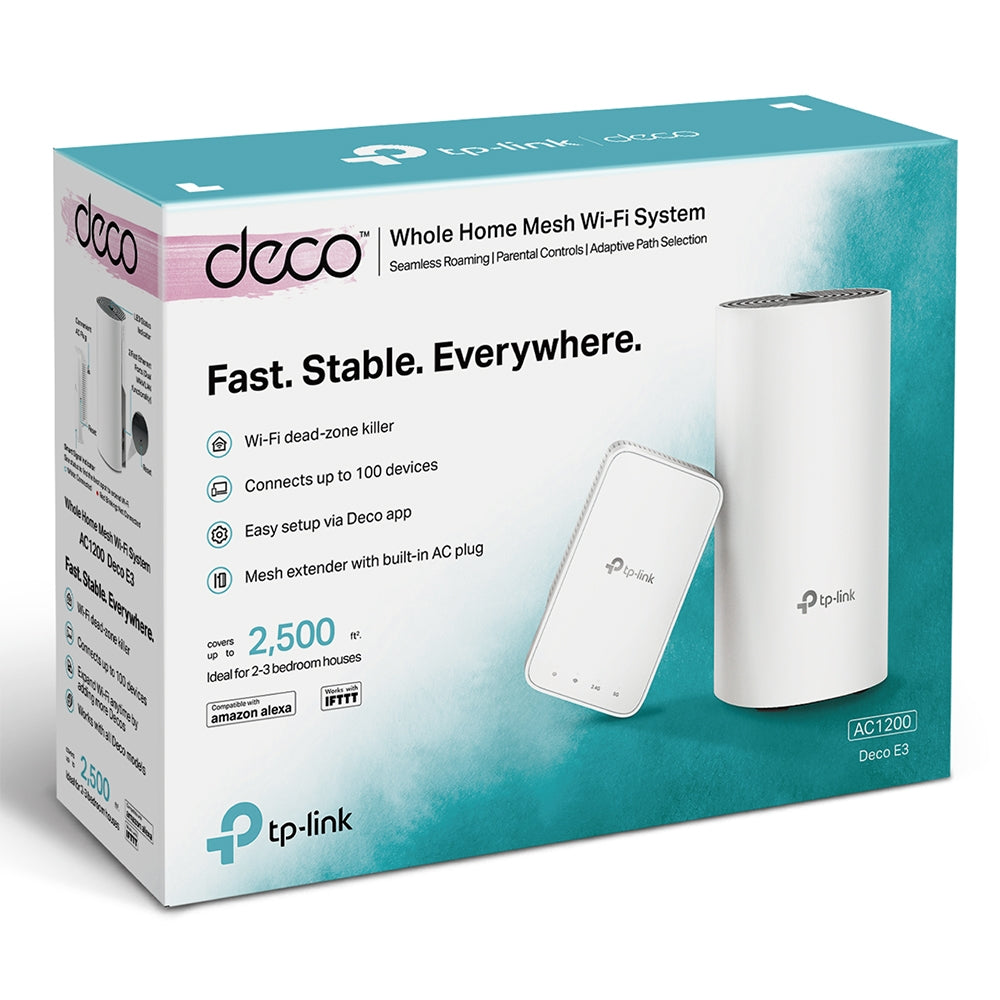 TP-Link 2x Deco E3 AC1200 Wifi Network Mesh System Boosters, Extenders and Antennas Discount Computer Needs