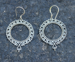 sterling silver hoop earrings, big journey earrings