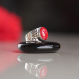 PASSION RING: sterling silver and red coral - Sembilan jewelry