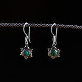 REBIRTH EARRINGS: dangle lotus earrings in sterling silver and turquoise - Sembilan jewelry
