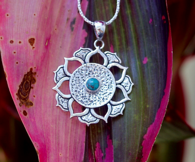 REBIRTH PENDANT: sterling silver and turquoise lotus flower - Sembilan jewelry