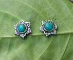 REBIRTH EARRINGS: lotus earrings studs in sterling silver and turquoise - Sembilan jewelry