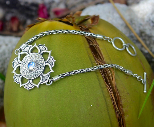 REBIRTH BRACELET: sterling silver and rainbow moonstone lotus flower - Sembilan jewelry