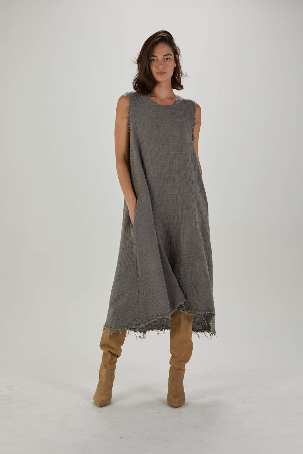 Q House of Basics Carol Dress in Stone