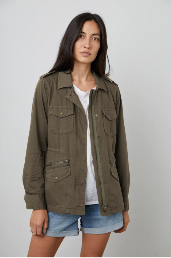 Velvet Ruby Army Jacket in Forest