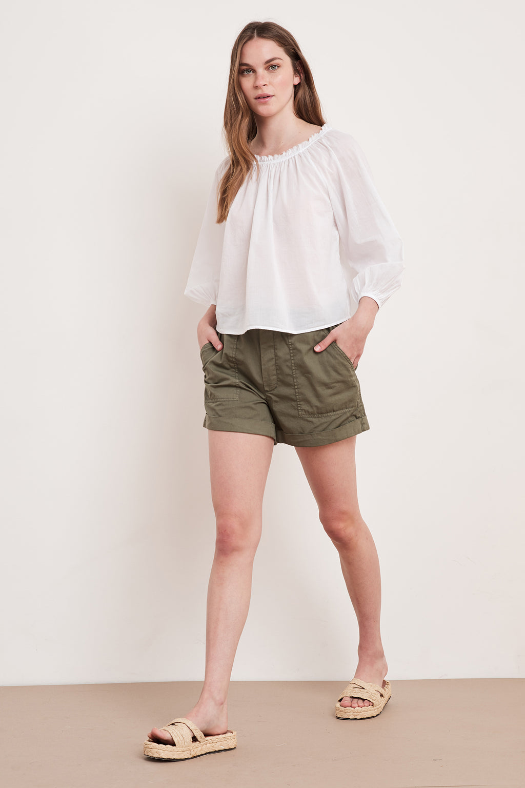Velvet Ori Puff Sleeve Blouse in White