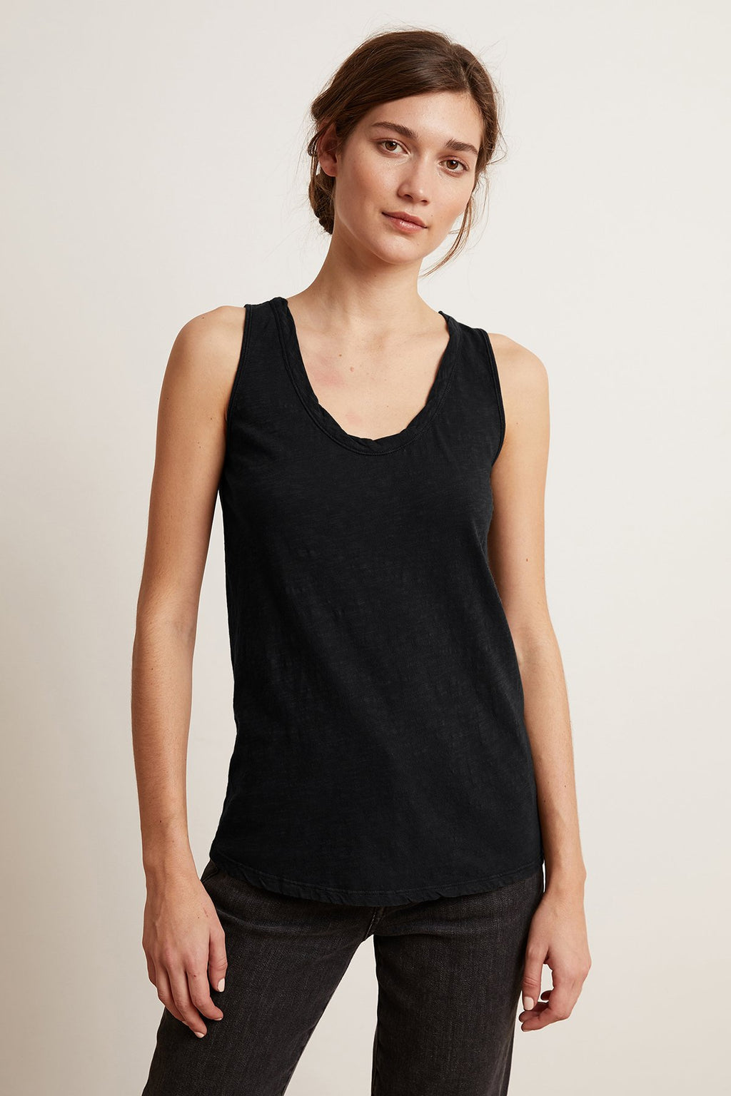 Velvet Joy Original Slub Scoop Neck Tank in Black