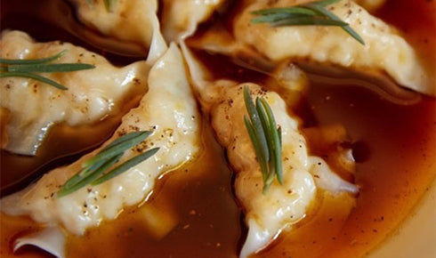 KYLIE KWONG'S SPANNER CRAB AND GINGER DUMPLINGS WITH SICHUAN CHILLI OIL