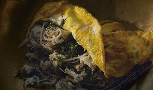 KYLIE KWONG'S CRAB OMELETTE WITH PICKLED WHITE RADISH AND FRESH HERBS
