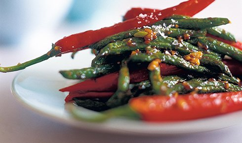 KYLIE KWONG'S SPICY DRY-FRIED GREEN BEANS WITH HOISIN SAUCE AND GARLIC