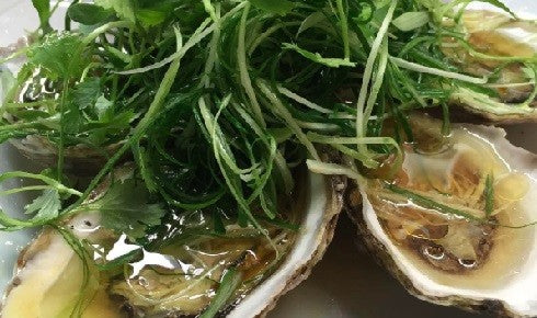 KYLIE KWONG'S STEAMED PACIFIC OYSTERS WITH GINGER & SHALLOTS