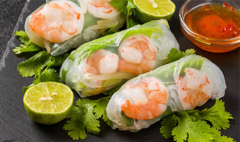 SACHIE'S PRAWN FRESH SPRING ROLLS WITH NUOC CHAM DRESSING