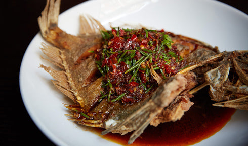 DEEP-FRIED WHOLE JOHN DORY WITH CHILLI SAUCE AND NATIVE HERBS