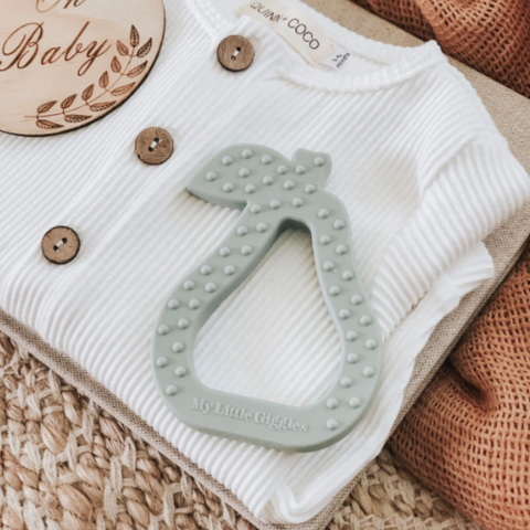 Sage Pear Silicone Teether