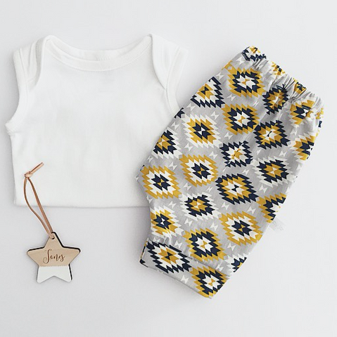 short harem pants | aztec mustard and navy detail - Baby Jones Designs