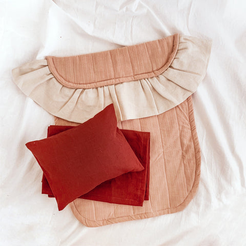 Deluxe Linen Full Doll Bedding Set - ROSE PALETTE - Baby Jones Designs