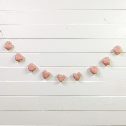 Felt heart garland | blush