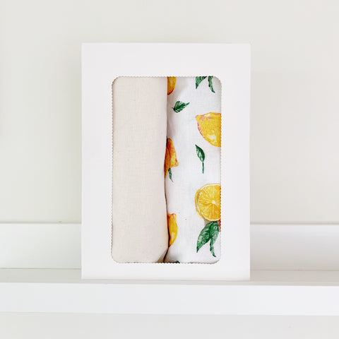 Bassinet sheet GIFT PACK | Organic Natural + Citrus - Baby Jones Designs