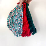 Size 00 three pack | Santa Red + Forest Green + Festive Print