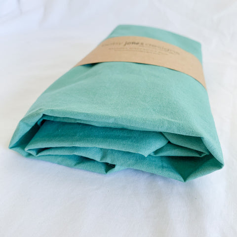 Seafoam Cotton Bassinet Sheet