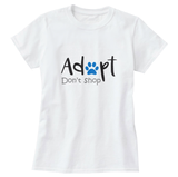 Adopt Don't Shop with Blue Paw Print Women's T-Shirt - Cat Lovers Australia