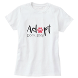 Adopt Don't Shop with Pink Paw Print Women's T-Shirt - Cat Lovers Australia